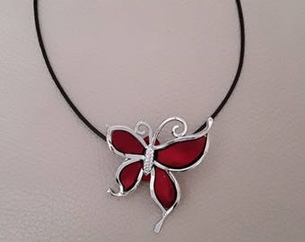 Burgundy and silver Butterfly bead black cord Choker