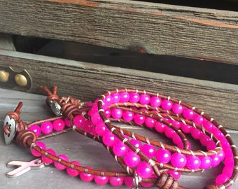 Breast cancer awareness leather wrap bracelet pink glass beads and ribbon charm