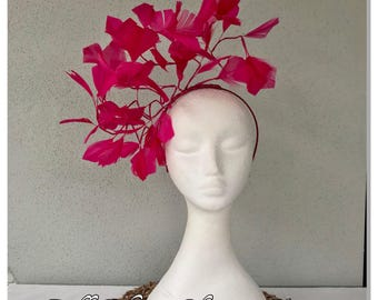 Ladies fuchsia pink feather headband fascinator