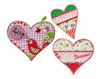 Patch/Ironing-Set Heart love-colorful-various sizes-by catch-the-Patch ® patch appliqué applications for ironing application patches patch