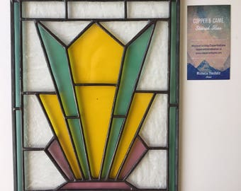 Stained Glass Art Deco Panel - Yellow, green and pink stained glass - Made to Order - Any Colour