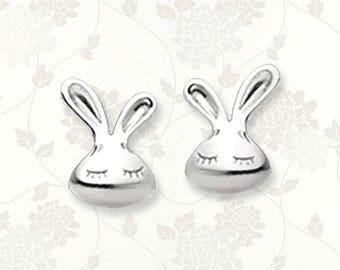 Sterling silver bunny earrings   rabbit earrings   stud earrings   bunny studs   animal earrings   rabbit studs   bunny jewelry