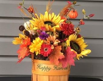 Fall Flower Arrangement, Sunflower Arrangement, Fall Sunflower Arrangement, Thanksgiving Flowers, Fall Autumn Decor, Floral Arrangement