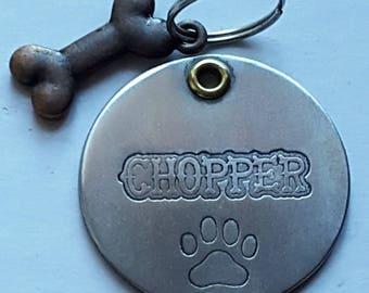 HandmadeA49-Free Shipping-Cat Tag-Dog Tag -Dog ID Tag - DOG Name Tag - Handmade BRASS Pet Tag Hand Stamped
