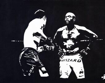 Anderson Silva VS Chris Weidman - Print acrylic painting 60x40 cm - M.M.A.