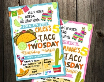 Taco Twosday fiesta birthday invitation, printable, mexican party invite, cinco de mayo second 2nd digital file instant download boy girl