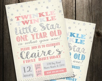 Twinkle Twinkle Little Star First Birthday Invitation, Pink and Silver Invitation, Pink and Gold Invitation
