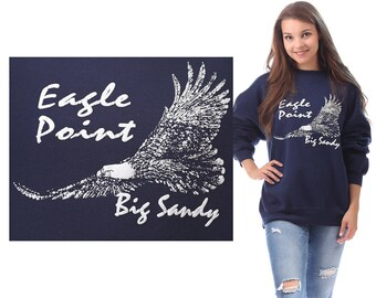EAGLE Shirt Animal Sweatshirt 90s Graphic Eagle Point Big Sandy Print Flying Bird Jumper Slouchy Crewneck Navy Blue Vintage Large