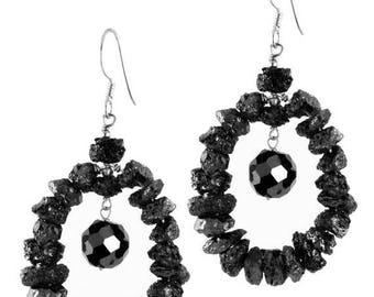 50% Sale Rough Black Diamond Beaded Earrings -Buy 2 Get 1 Free of Equal of Same Value