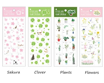 Planner/Journal Sticker Set #1 - Floral, Plants, Clover, Sakura