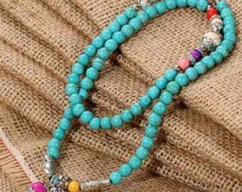 Stretch Turquoise Bead Necklace
