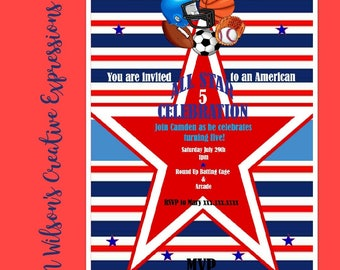 All Star Sports 1st, 2nd, 3rd, 4th, 5th, 6th Birthday Invitation, Invite