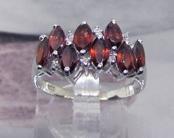 """Ring silver and garnets """"Marquise shaped"""" size 58"""