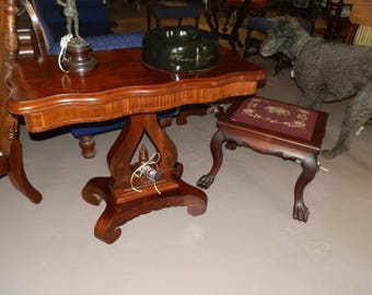Amazing Antique Victorian Empire Flame Mahogany Console/Games Table