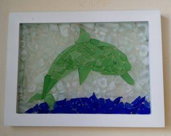 Framed Sea Glass Dolphin