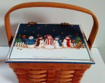 Weaved Basket With Snowman Scene