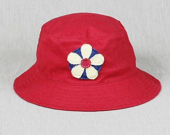 Ladies Red Bucket Hat with Handmade Flower Decal