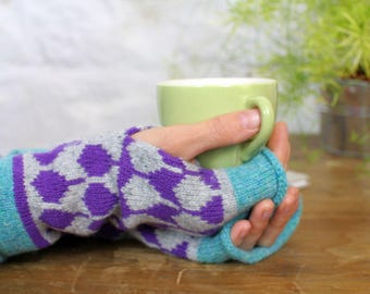 Cashmere knitted wristwarmers - fairisle pattern - Luxury fingerless mitts - grey purple turquoise mittens - machine knitted
