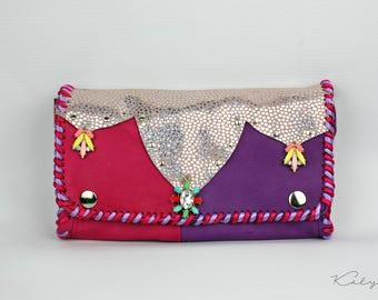 Leather wallet. Boho Hippie wallet.