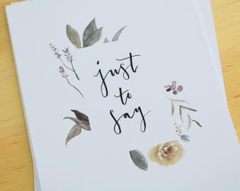 Floral Watercolour Brush Lettered Postcard