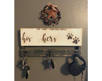 His Hers Paws Hooks. Pallet His Hers Paws Hooks For Keys. Rustic Distressed  Key