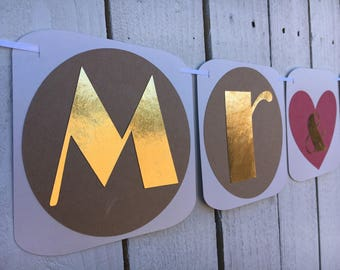 Mr and Mrs Wedding Banner | Wedding Banner Gold and Tan Heart Wedding Sign | Rustic Wedding Decor, Signs, photo shoot banner