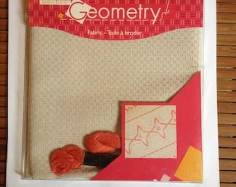 Beige canvas Geometry DMC embroidery FLOSS