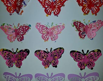 3d multi color layered cardstock paper intricate butterflies,scrapbook embellishments,craft supplies,wreath supplies,scrapbook supplies
