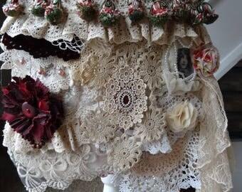Handmade Vintage lace Gypsy Boho Shabby Chic Cross Body Bag
