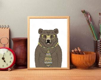 Nursery Wall Art Bear, Printable Wall Art, 8 x 10, Boys Room Decor, Nursery Print, Woodland Wall Art, Tribal, Illustration