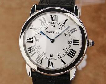 Cartier Ronde Mens 36mm Stainless Steel Quartz Luxury Dress Watch c2000 SIW160