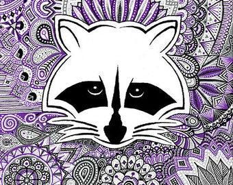 "Painting on canvas ""Raccoon Pat"" - ""Love raccoon"" painting"