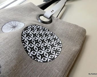 black and white linen tote bag