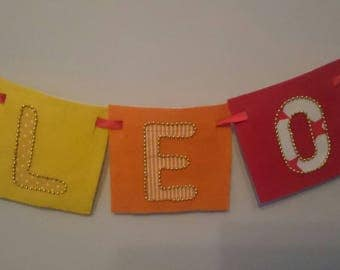 FIRE Bright red orange bespoke wall hanging banners for children's rooms, nursery, names, made-to-order with felt and hand-sewn beaded trims