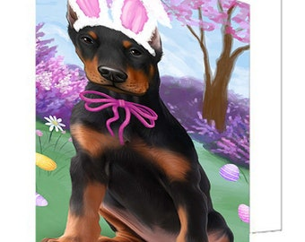 Doberman Pinscher Dog Easter Holiday Set of 10 Greeting Cards