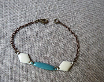 Bracelet color bronze with white and turquoise sequins