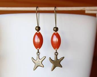 Earring bronze sequin orange and starfish