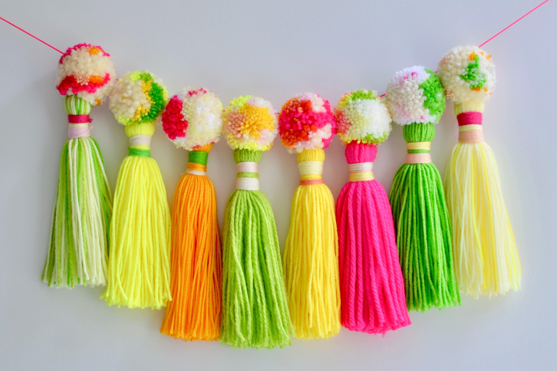 Yarn tassel pompom garland / neon / kids\' room decor / party ...