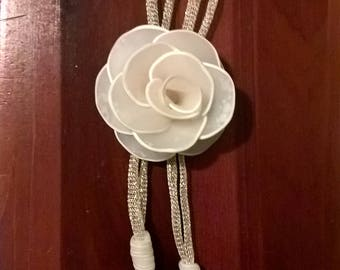 Hand-molded White Rose Necklace