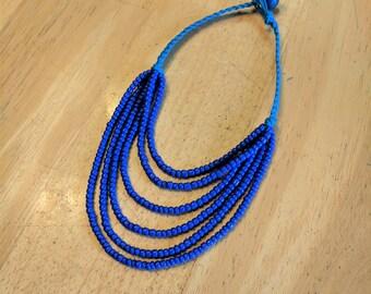 Blue Hemp Necklace, Blue Bib Necklace, Blue Layered Necklace, Blue Stacked Necklace, Hemp Bib Necklace, Hemp Layered Necklace, Hemp Necklace