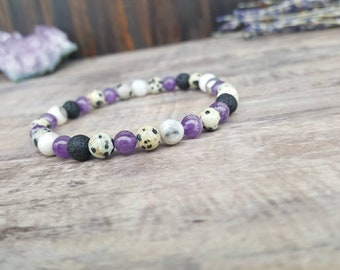 Anxiety Relief Intention Bracelet - Amethyst Bracelet, Lava Rock Bracelet, Diffuser Bracelet, Anxiety Bracelet, Calming Bracelet, Relief