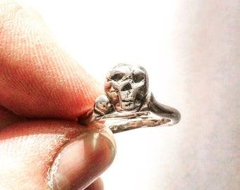 Skull Ring, Mens Skull Ring, Sterling Silver Skull Ring, Biker Ring, Rocker Ring,biker jewelry, .925, Johnny Depp Jewelry - Lugdun Artisans