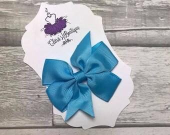 Hair Bow, Hair Clips, Bow Hair Clips, polka dot Denim hair clip, Fabric bow, Blue