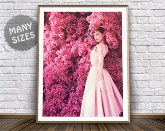 Audrey Hepburn Print Vintage Print Pink Dress Retro Poster Audrey Hepburn Wall Art 60s Print Breakfast At Tiffanys Audrey Hepburn Poster Art