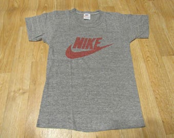 Vintage Nike tri blend swoosh shirt 1970's 80s shirt xsmall small Red gray grey