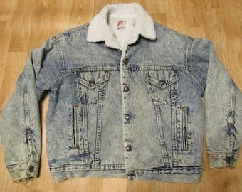 Vintage Levis Acid Wash Sherpa Jacket Large distressed