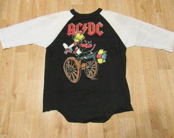Vintage ACDC Raglan Shirt 90's 1990s Devil Cannon