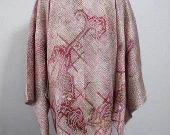 Second hand Japanese Haori, kimono jacket for women, shibori, silk