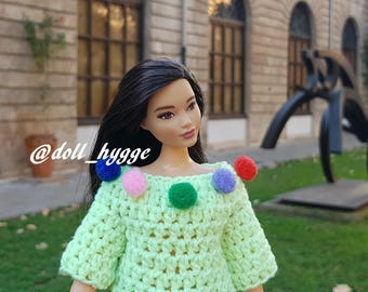Handmade knitted sweater for a curvy barbie doll
