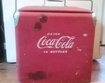 Coca Cola Cooler, Red Metal Cooler, Vintage Ice Box, Vintage Ice Chest, Old Coke Cooler, Metal Ice Box, Red Metal Box
